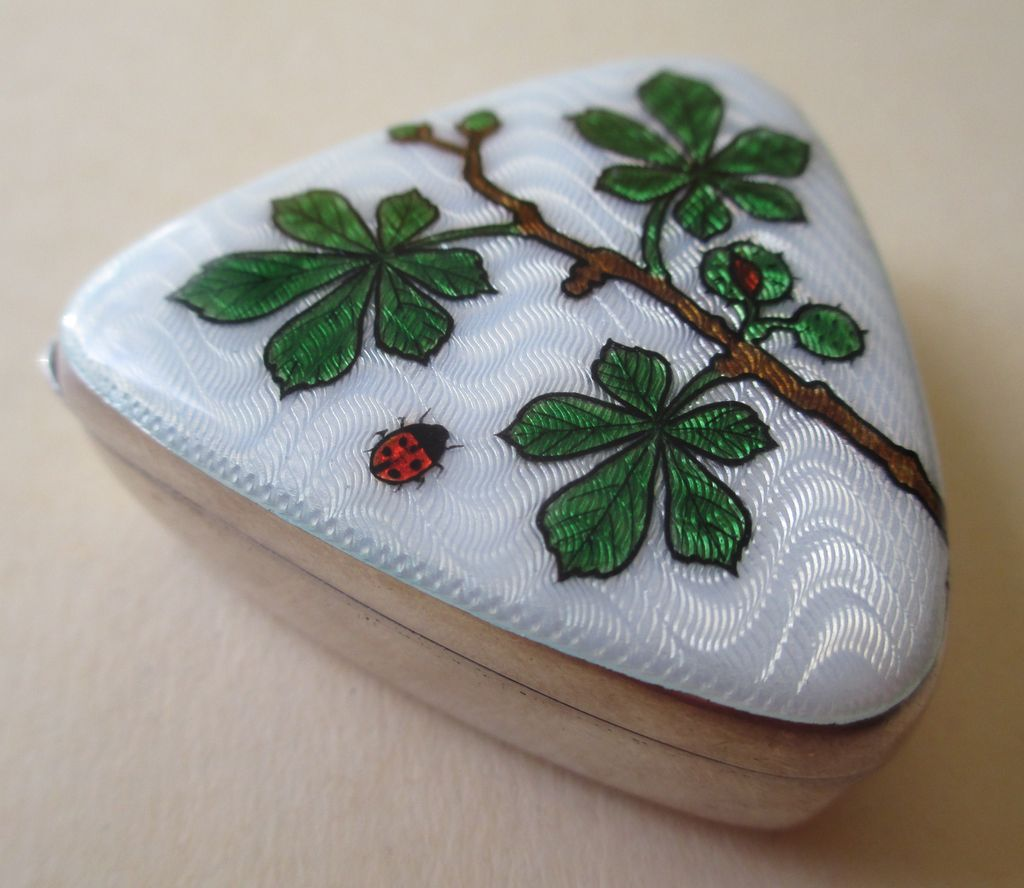 Enamel and Silver Box / Pillbox  with Ladybug and Floral Motif - Antique