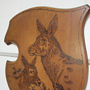 Shield Shape Wooden Plaque with Deer - Pyro Art