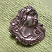 Sterling Art Nouveau Lady's Head Pin Brooch with Watch Hook