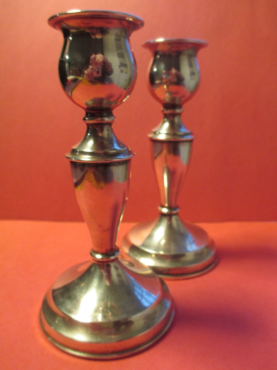 English Sterling Mid Century Candlesticks