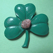 Shamrock Pin with Blarney Stone - 1950's Hard Plastic