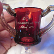 """Commander-in-Chief, April 1913"" Ruby Glass, 3 Handled Cup"