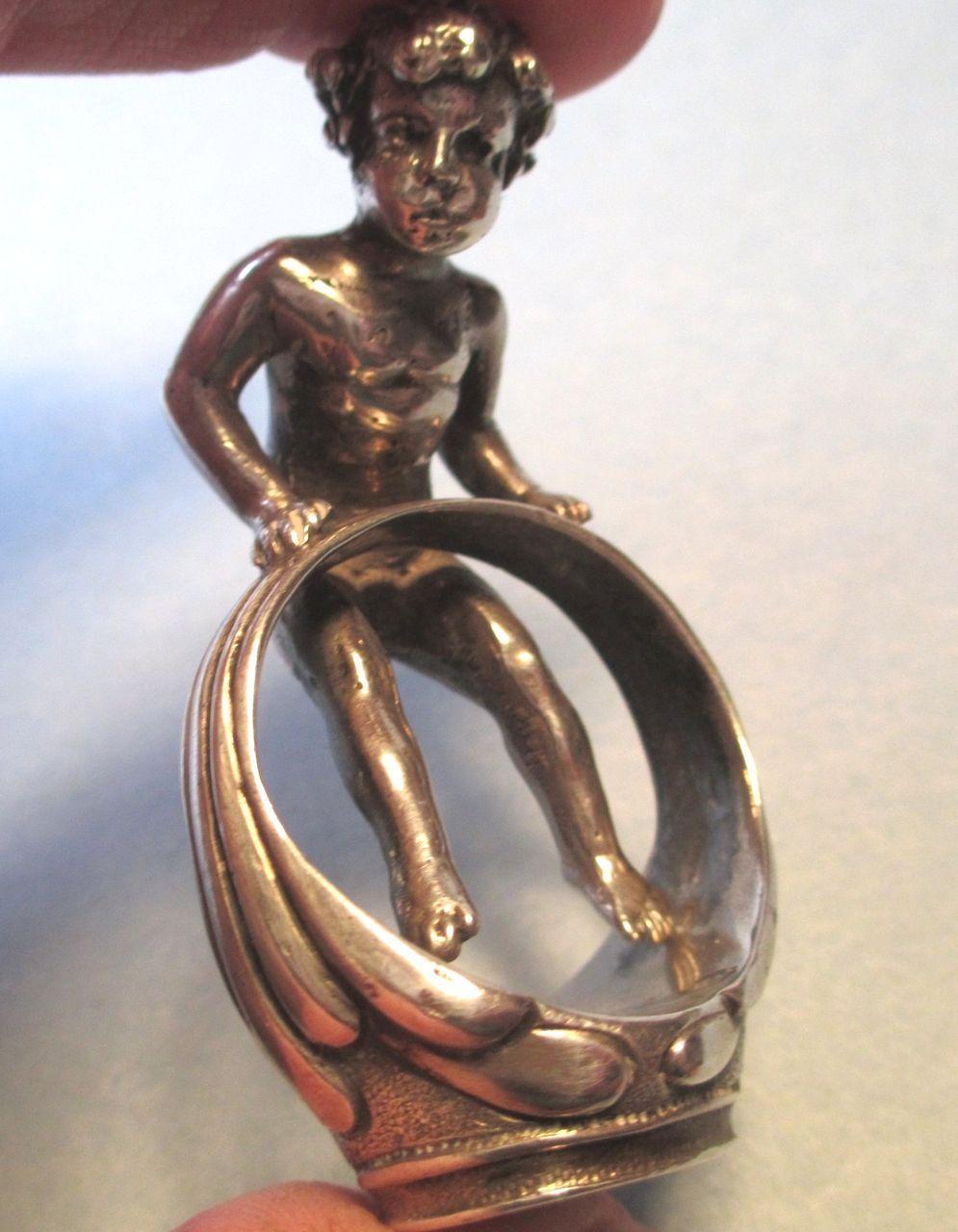 Berthold Muller - Sterling Desk Seal with Cherub in a Finger Ring  - 1907