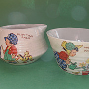 Child's Cream Jug & Sugar Bowl - Charming 1930's Pottery / Tea Set