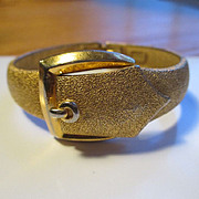 Crown Trifari Clamper Gold Tone Buckle Bangle
