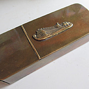 Crystal Palace (Great Exhibition of 1851) Souvenir Brass Box - Pipe holder / Tobacco box / Match Safe - Smoker's Compendium