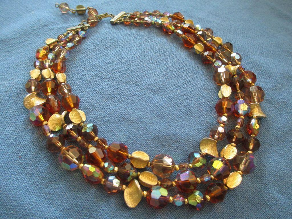 Hattie Carnegie Triple Strand Sparkling Beaded Necklace