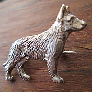 German Shepherd / Alsatian Sterling Pin or Brooch - 1930's