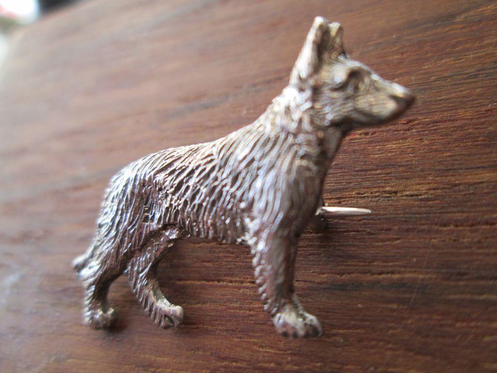 German Shepherd / Alsatian Sterling Pin or Brooch - 1930's
