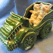 German Ceramic / Fairing Pigs in Car - Too Cute!