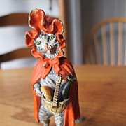 Vienna Bronze Little Red Riding Hood Cat - Cold Painted - Meow!