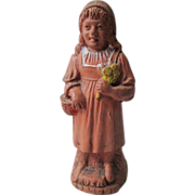 German Figural Red Clay Whistle - Little Red Riding Hood