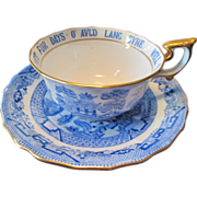 "Tiffany & Co / Spode Cup and Saucer ""Auld Lang Syne"" Blue Willow Pattern / Robert Burns Poetry"