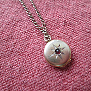 10k Gold and Ruby Tiny Doll's Locket - Doll Jewelry - Too Sweet!