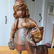 Black Forest Little Red Riding Hood and the Wolf - Wood Carving - Wonderful!