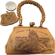 St. Louis Fair - 1904 - Souvenir Child's Leather Purse with Small Coin Purse and Mirror Included