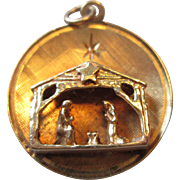 14K Gold Christmas Charm / Pendant  - Nativity Scene
