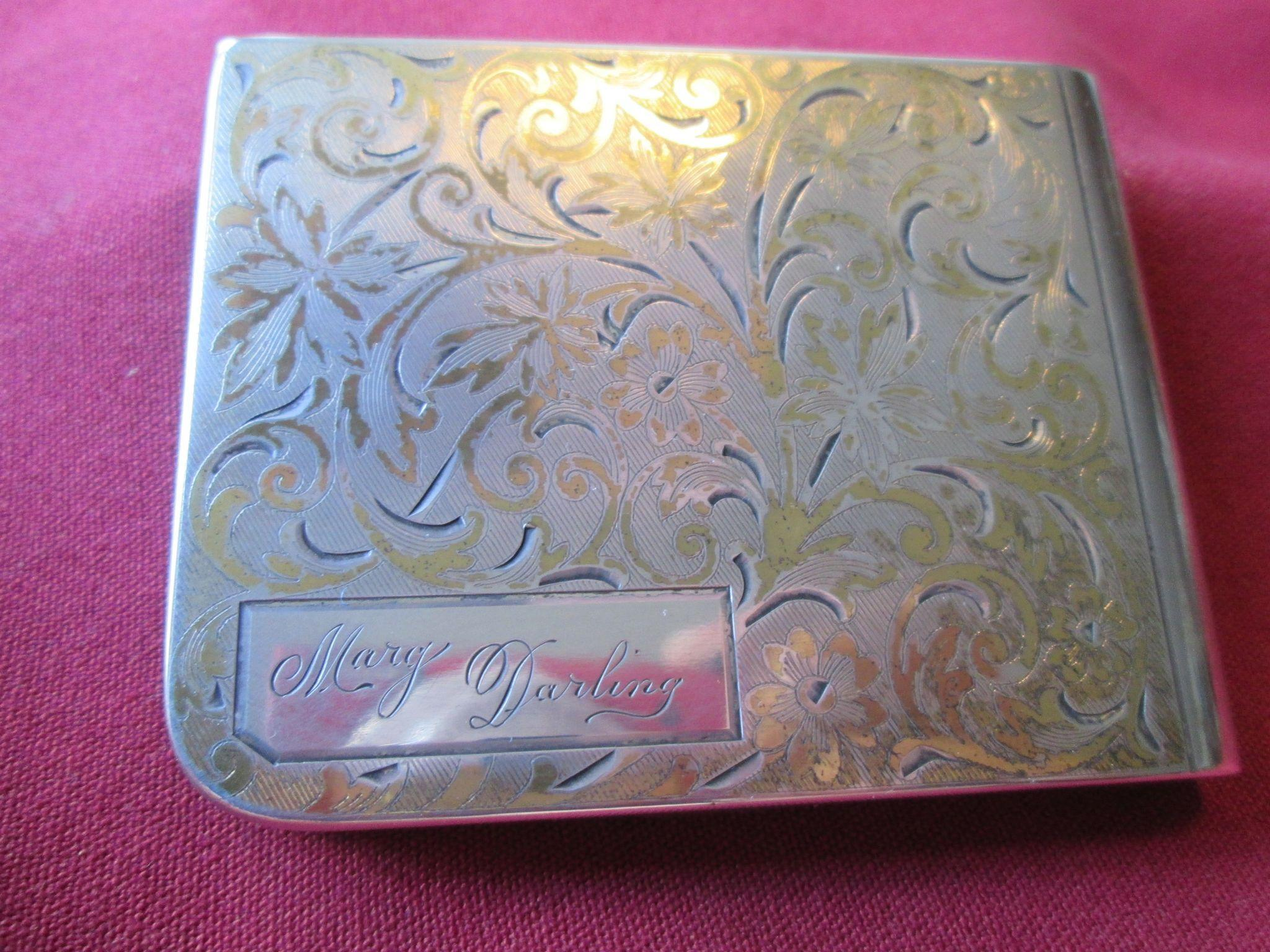 "Sterling Compact inscribed ""Marg Darling"" -  Elgin American 1950's"