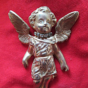 Large Hattie Carnegie Angel / Cherub Ornament with Rhinestone Collar