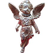 Large Hattie Carnegie Angel / Cherub Ornament with Rhinestone Collar