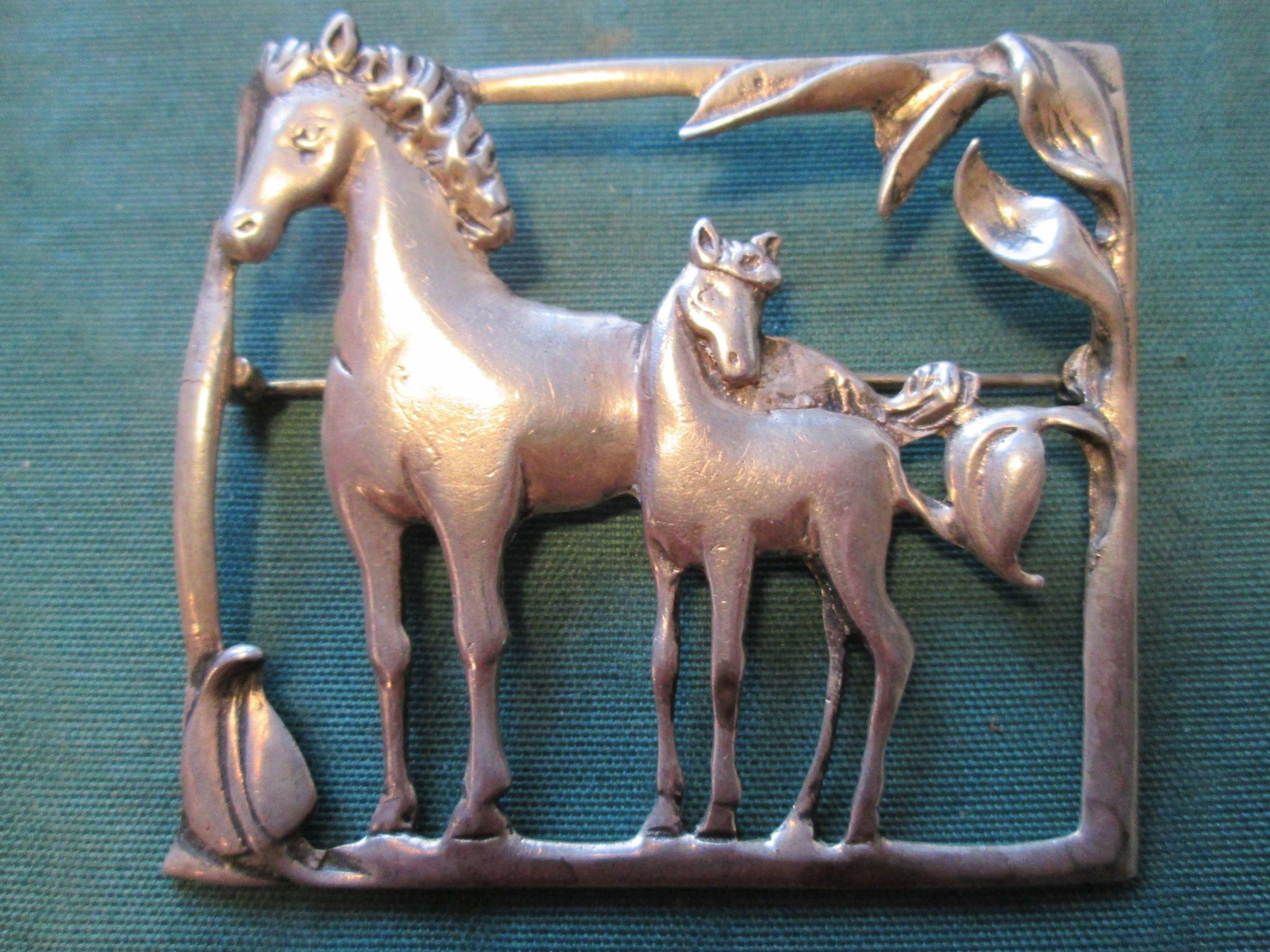 Large Sterling Horse Brooch / Pin