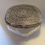 Sterling Silver Top Dresser Jar - Large Beautiful Powder Jar