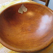 Wood and Sterling Silver Bowl with Boxer Dog