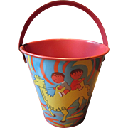 Vintage Sand Pail with Camel and Donkey in the Desert