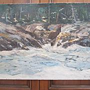 Maine Seascape Painting - Oil on Canvas - Signed John E. Harris