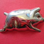 Mexican Sterling Silver Pig Brooch or Pin - Taxco