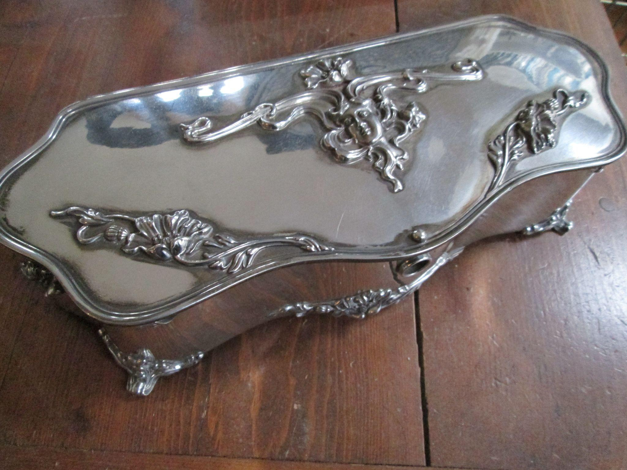 Large Art Nouveau Jewelry Box - Derby Silver Company - Lovely Lady and Floral Motif