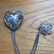 Coro Chatelaine Pin - Double Heart - circa 1945 - Pegasus Coro Mark