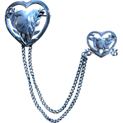 Coro Chatelaine Pin - Double Heart - circa 1945 - Pegasus Coro Mark