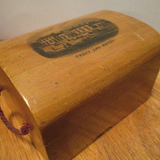 Mauchline Ware Box Miniature Trunk / Souvenir of the Victorian Croft Spa Hotel in England
