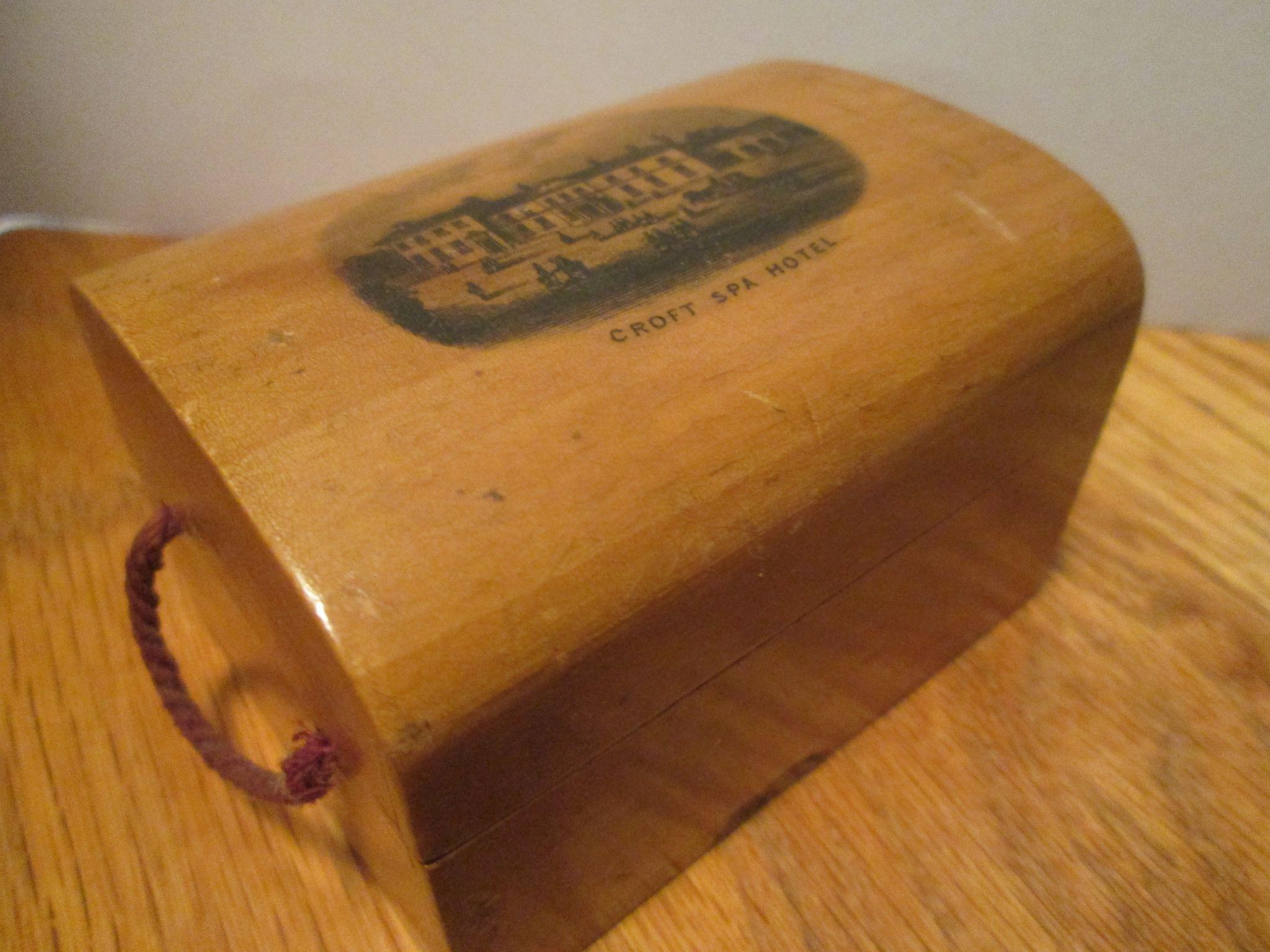 Mauchline Ware Box Miniature Trunk / Souvenir of the Victorian Croft Spa Hotel in England