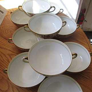 Ten Noritake Christmas Ball China Soup Bowls with Handles - Pattern 175 / 16034 - Green Back Stamp - Great Condition