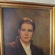 Portrait of a Pretty Mid Century Connecticut Woman in her Riding Habit by Virginia W. Hazel  -Oil on Canvas