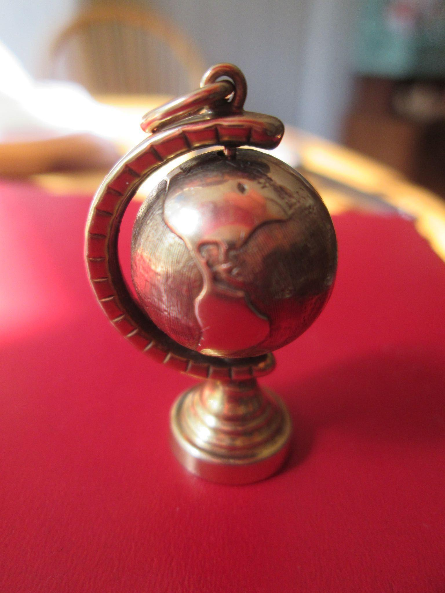 9ct Gold Globe Charm - Large, Well Made, and it Spins !! Deluxe Doll House Miniature too!!