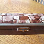 Pudding Stone Stamp Box - Birdseye Maple - 4 Compartments - Nice!
