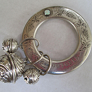 """Fabulous Large Sterling Baby Rattle and Teething Ring - Dated 1909 - """"October"""" with Opal Birthstone"""