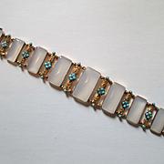 Stunning Georgian 18ct Gold Bracelet with Chalcedony, Turquoise and Diamonds - Circa 1830