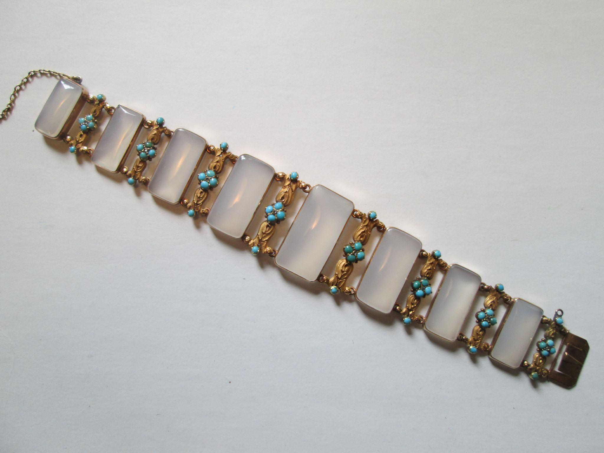 Stunning Georgian 18ct Gold Bracelet with Chalcedony, Turquoise and Diamonds - Circa 1830
