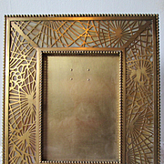 "Tiffany Studios - Pine Needle Frame - Caramel Slag Glass & Gilt Bronze  -  9 3/4"" x 8"""