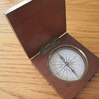 Pocket Compass circa 1875 with Wooden Case