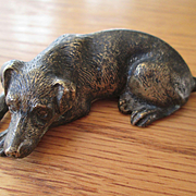 "Adorable Bronze Dog - 3"" Long"