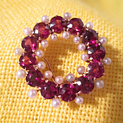 Garnet and Pearl Pin 14K Gold Setting - Edwardian Wreath