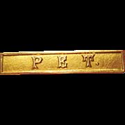 "Baby Pin - ""PET"" 10K Gold  Antique Sweetheart Pin"
