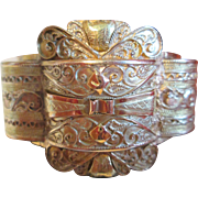 Magnificent Wide 18K 2-Color Gold Hinged Bangle - French Algerian c.1900