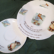 "Child's Plate & Saucer - ""Hey Diddle Diddle! The Cat & The Fiddle"" - Nursery Rhyme Porcelain"