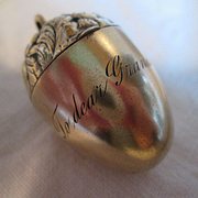 "Gorgeous Silver Gilt Acorn Thimble Holder & Sterling Thimble - ""To dear Grandma"""